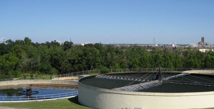 aerial view of water tanks